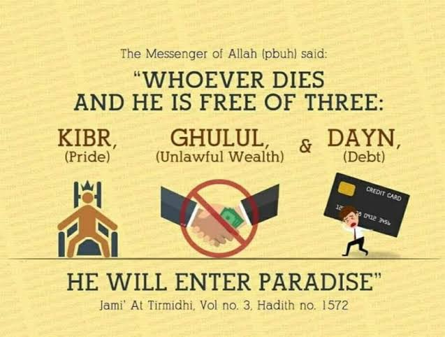 """Whoever dies free from three things – arrogance, cheating and debt – will enter Paradise"""" [Tirmidhi]."""