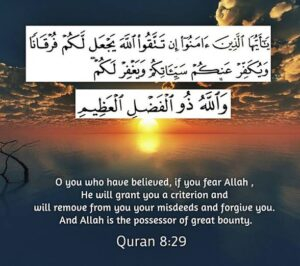 """O you who believe, if you fear Allah, He will provide you with a criterion (to distinguish between right and wrong) and will write off your evil deeds and will forgive you. Allah is the Lord of great bounty."""""""